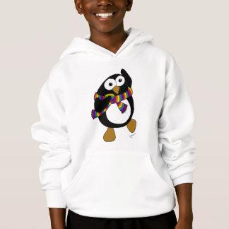 Cartoon Penguin in a rainbow scarf, dancing. Hoodie