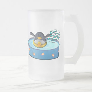 Cartoon Penguin In Pool Frosted Glass Beer Mug