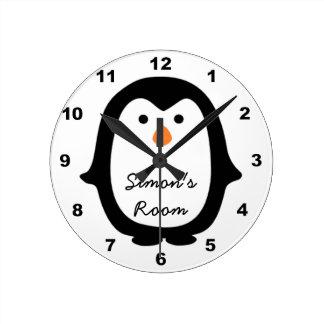 Cartoon Penguin personalized Kid s Room Wall Clock Wall Clocks