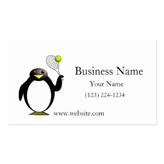 Cartoon Penguin Playing Tennis Double-Sided Standard Business Cards (Pack Of 100)