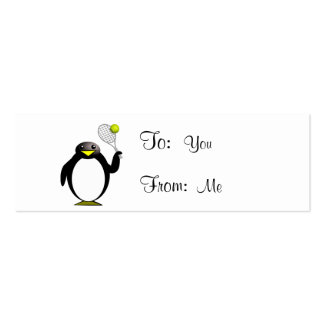 Cartoon Penguin Playing Tennis Double-Sided Mini Business Cards (Pack Of 20)