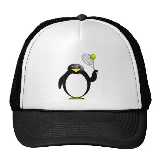 Cartoon Penguin Playing Tennis Trucker Hat