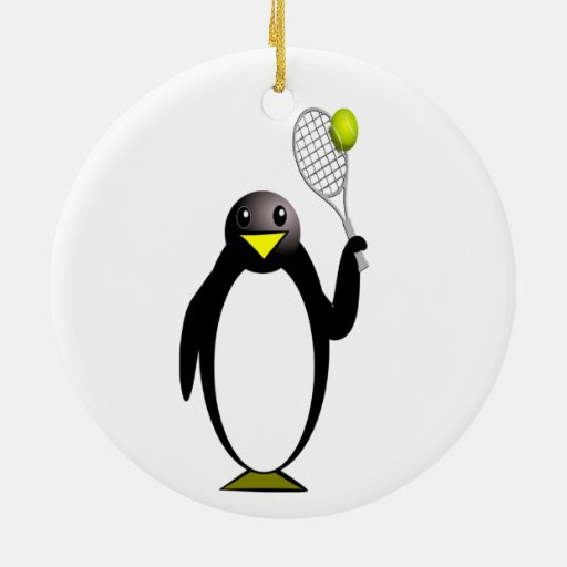 Cartoon Penguin Playing Tennis Christmas Ornament