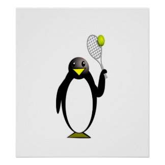 Cartoon Penguin Playing Tennis Posters