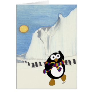 Cartoon penguin retirement card