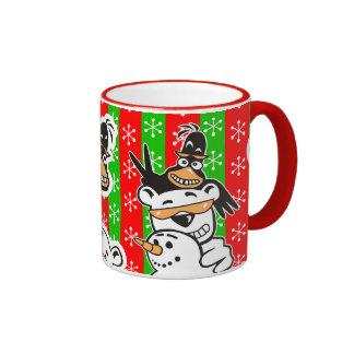 Cartoon Penguin, Snowman and Polar Bear Ringer Mug