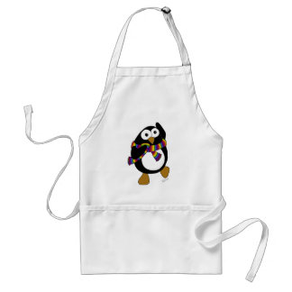 Cartoon penguin wearing a colorful rainbow scarf aprons