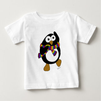 Cartoon penguin wearing a colorful rainbow scarf. baby T-Shirt