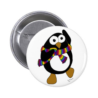 Cartoon penguin wearing a colorful rainbow scarf. button