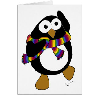 Cartoon penguin wearing a colorful rainbow scarf. card
