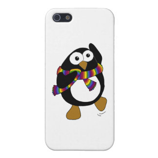 Cartoon penguin wearing a colorful rainbow scarf. cover for iPhone SE/5/5s