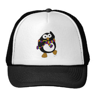 Cartoon penguin wearing a colorful rainbow scarf. trucker hat