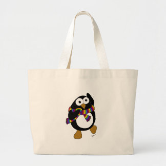 Cartoon penguin wearing a colorful rainbow scarf. large tote bag