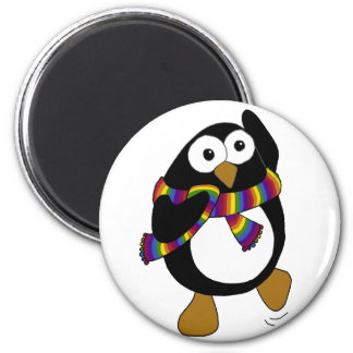 Cartoon penguin wearing a colorful rainbow scarf. magnet