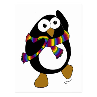 Cartoon penguin wearing a colorful rainbow scarf. postcard