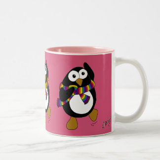 Cartoon penguin wearing a colorful rainbow scarf. Two-Tone coffee mug