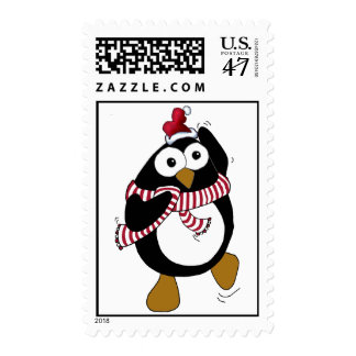Cartoon penguin wearing a colorful scarf. postage