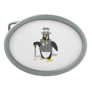 Cartoon Penguin Wearing a Tuxedo Oval Belt Buckles