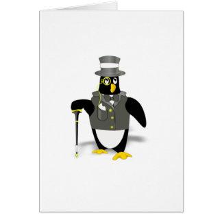 Cartoon Penguin Wearing a Tuxedo Greeting Card