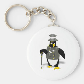 Cartoon Penguin Wearing a Tuxedo Keychain