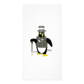 Cartoon Penguin Wearing a Tuxedo Customized Photo Card
