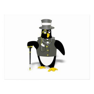 Cartoon Penguin Wearing a Tuxedo Postcard