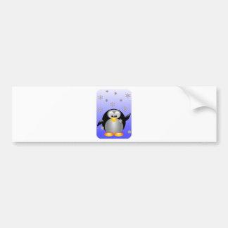 Cartoon Penguin with Snowflakes Bumper Sticker