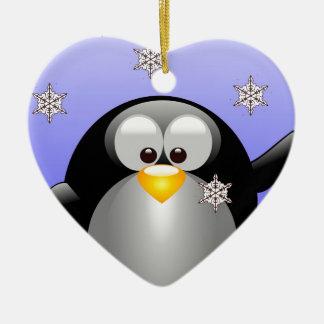 Cartoon Penguin with Snowflakes Ceramic Ornament