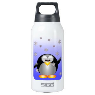 Cartoon Penguin with Snowflakes Insulated Water Bottle