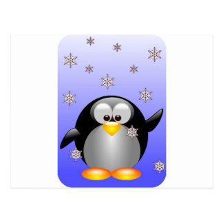 Cartoon Penguin with Snowflakes Postcard