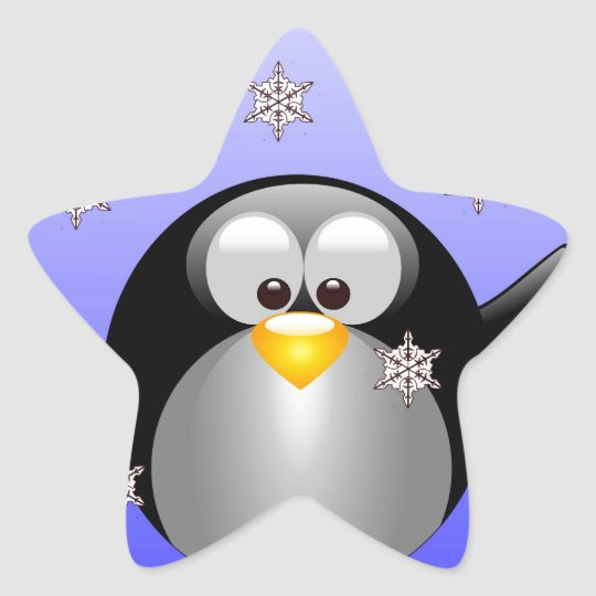 Cartoon Penguin with Snowflakes Star Sticker