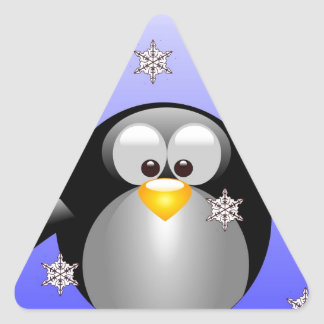 Cartoon Penguin with Snowflakes Triangle Sticker