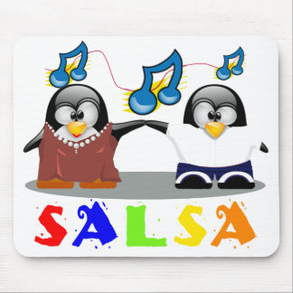 Cartoon Penguins Couple Dancing Salsa Mousepad