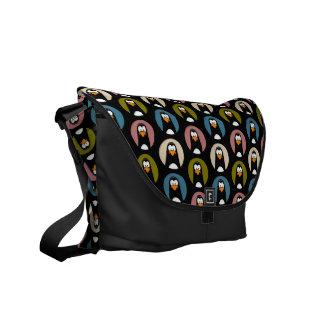Cartoon Penguins in Polka Dot Spotlights Pattern Courier Bags