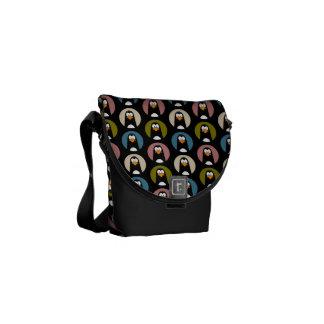 Cartoon Penguins in Polka Dot Spotlights Pattern Messenger Bags