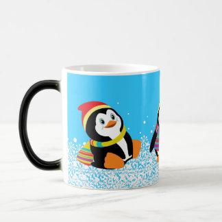 cartoon penguins 11 oz magic heat Color-Changing coffee mug