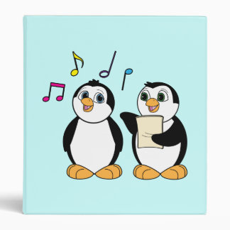 Cartoon Penguins Singing Binder