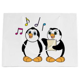Cartoon Penguins Singing Large Gift Bag