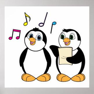 Cartoon Penguins Singing Poster