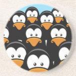 Cartoon Pensive Penguin Army Drink Coaster