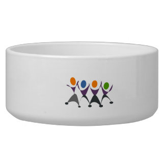 Cartoon People Dancing Dog Water Bowl