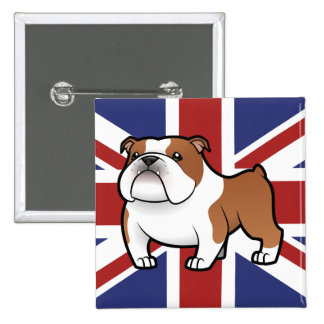 Cartoon Pet with Flag 2 Inch Square Button