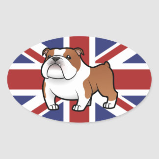 Cartoon Pet with Flag Oval Sticker