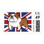 Cartoon Pet with Flag Postage Stamps