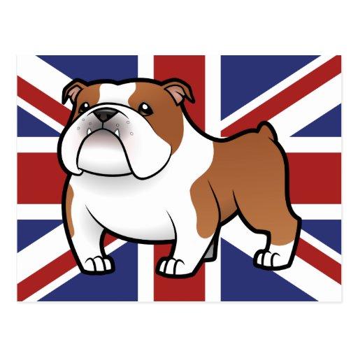 Cartoon Pet with Flag Postcard
