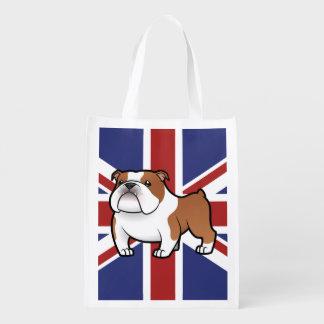 Cartoon Pet with Flag Reusable Grocery Bag