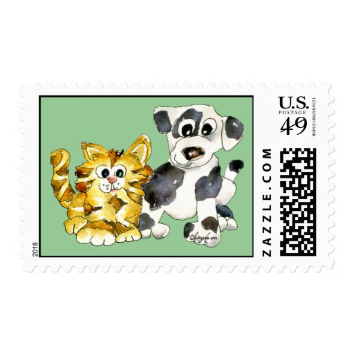 Cartoon Pets Postage Stamps - Fill Mode