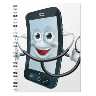 Cartoon phone character holding a stethoscope notebooks