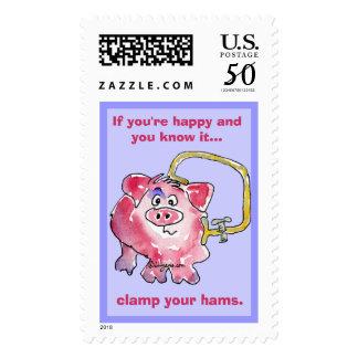 Cartoon Pig 10 Custom Postage Stamps