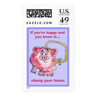 Cartoon Pig 10 Custom Postage Stamps